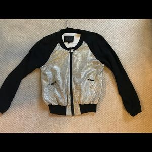 Silver and black light bomber jacket